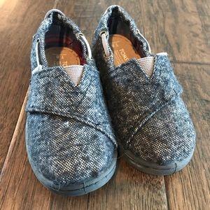 TOMS Black/Grey Wool Tweed Size 8